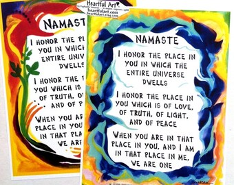NAMASTE 8x11 YOGA Poster Spiritual Meditation Inspirational Relationship Zen Motivational Gift Hindu Love Heartful Art by Raphaella Vaisseau