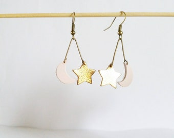 Earrings stars and moon powder pink and shiny gold leather