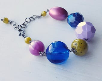 ariadne oliver bracelet - vintage lucite, jeweltones, chunky jewelry, cobalt chartreuse
