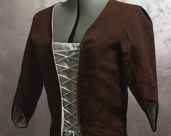 Ready to ship 18th century linen jacket and stomacher, size L/XL - Historical costume Reenactment Living History Rococo Colonial Georgian