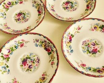 Royal Grafton China, saucers x4, Vintage Floral, Tea Set