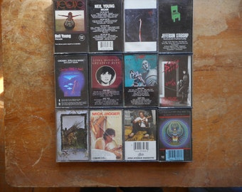 Vintage Tape Lot (12) 70's-late 80's Rock Led Zeppelin, Queen, Neil Young, Mick Jagger, Journey