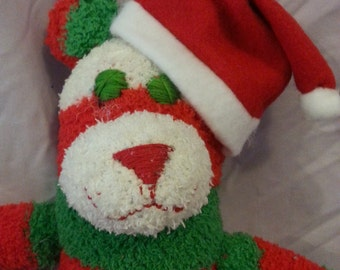 Christmas Sock Bear Fuzzy Soft Plush Doll Red Green White