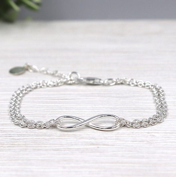 Silver 925 double chain infinity bracelet
