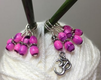 Yoga Stitch Marker Set- SNAG FREE Beaded Knitting Stitch Marker- OM- Fitness Gift- Gifts for Knitters