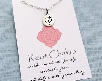 Yoga Gifts | Sanskrit Root Chakra Necklace, Yoga Jewelry, Meditation Inspirational Chakra Jewelry, Spiritual Om Boho Jewelry, Gift for Her