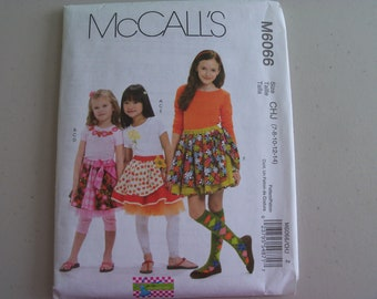 McCalls 6066 Girl's Skirts Leggings and Appliques Sizes 7-14 NEW