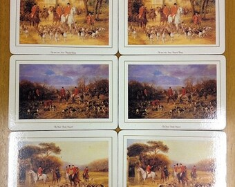 Vintage Fox Hunting Placemats Haywood Hardy Hunting Scenes Cork-Backed Placemats x 6