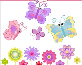 ON SALE Butterfly and flowers clip art - flowers clip art, Instant download Digital clip art, Butterfly and flowers pink, blue, purple