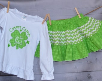 St Patrick's Day Cutest Clover in the Patch Applique Shirt or Bodysuit Boy or Girl - Skirt Available