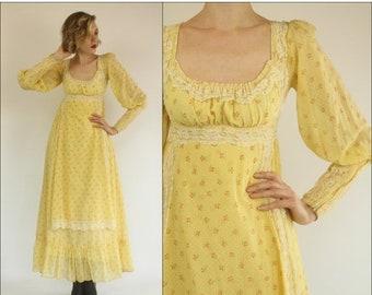 FLASH SALE Vintage 60's Gunne Sax Floral Boho Prairie Lace Preppy Yellow Empire Maxi dress XXS Xs
