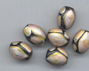 Twelve very unusual, very pretty hand-painted beads - matte silver, gold, and pale peach - 14 x 11 mm ovals