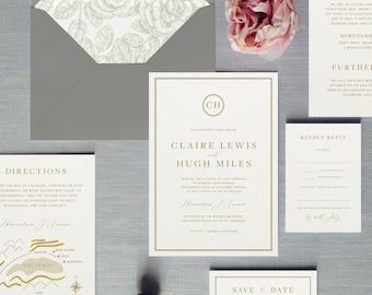 Wedding invitation etsy buckingham luxury wedding invitation stopboris Images
