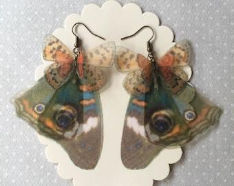 I Will Fly Away - Handmade Silk Organza American Butterflies Wings Earrings - Common Buckeye and Lustrous Copper