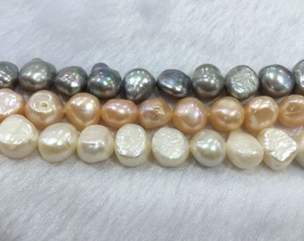 11-12mm Genuine Freshwater Pearl Grey / Pink / White Grade A Twolight strand 15''L 38cm Loose Beads
