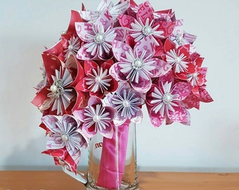 Cascading 'love' bouquet in pinks, red and white with brooches and pearl detail