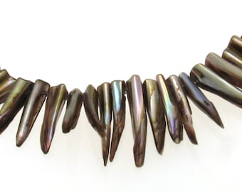Brown Shade Shell Stick Beads, Natural Shell Beads, Shell Beads, Stick Beads,  Knife Shell Beads, Horn Shell Beads, Sea Beads, Shell beads
