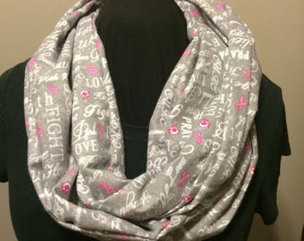 Breast Cancer Awareness Gray with Pink Ribbon Cotton Flannel Infinity Scarf