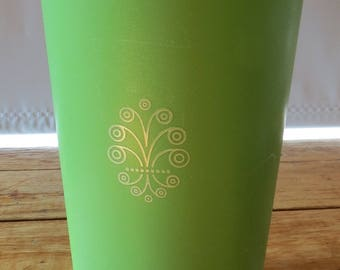 Vintage 1960s / 1970s Apple Green Tupperware Canister  {mod retro Kitchen Accessory} 1222-4