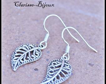 Antique silver Earrings, Leaf Earrings