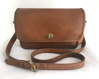 Vintage Coach Compartment Bag, British Tan Leather, Style 9850, Made in USA