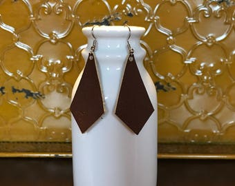 Handcrafted Brown Leather Kite Earrings