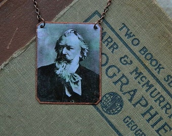 Composer necklace Brahms jewelry mixed media jewelry classical music