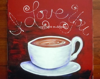 Coffee Cup painting canvas, red white black, kitchen wall art, restaurant wall art, coffee lover gift, big coffee cup art, coffee love art