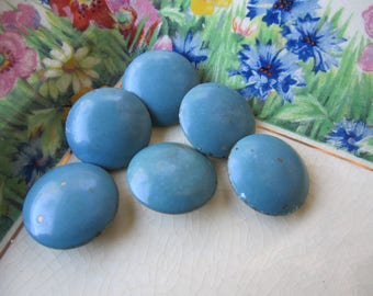 6 Vintage Metal Teal Buttons - Round - Blue