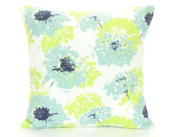 Aqua Lime Throw Pillow Cushion Covers ALL SIZES Spa Blue Navy Floral Couch Sofa Pillow Bedding Shams Decorative Flower Pillow Shabby Chic