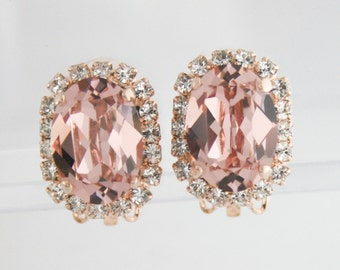 Rose gold blush crystal clip on earrings,blush clip on earrings,blush clipon earrings,blush wedding jewelry,rose gold blush bridal earrings