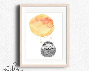 Hedgehog, hedgehog baby gift, minimalist watercolor art, watercolor, gift from aunt, nursery hedgehog decor, sleep wall decor, woodlands