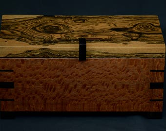 Lacewood,Bocote and Ebony keepsake and jewelry box