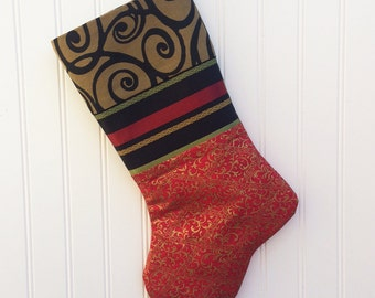 Shabby Chic Christmas Stocking, Handmade Christmas Stocking, Stocking, Red and Gold Stocking, Christmas Decoration, Christmas Decor