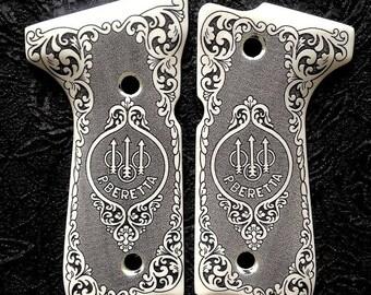 Beretta 92 92FS 96 custom engraved scrimshaw ivory pistol gun grips Scroll Trident Logo