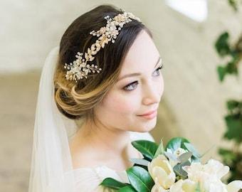 Gold Leaf, Pearl and Crystal Hair Vine, Anna