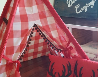 Vintage Children's Teepee Play Tent with 2 Antler Pillows