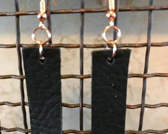Black Leather Bar Earring with Rose Gold