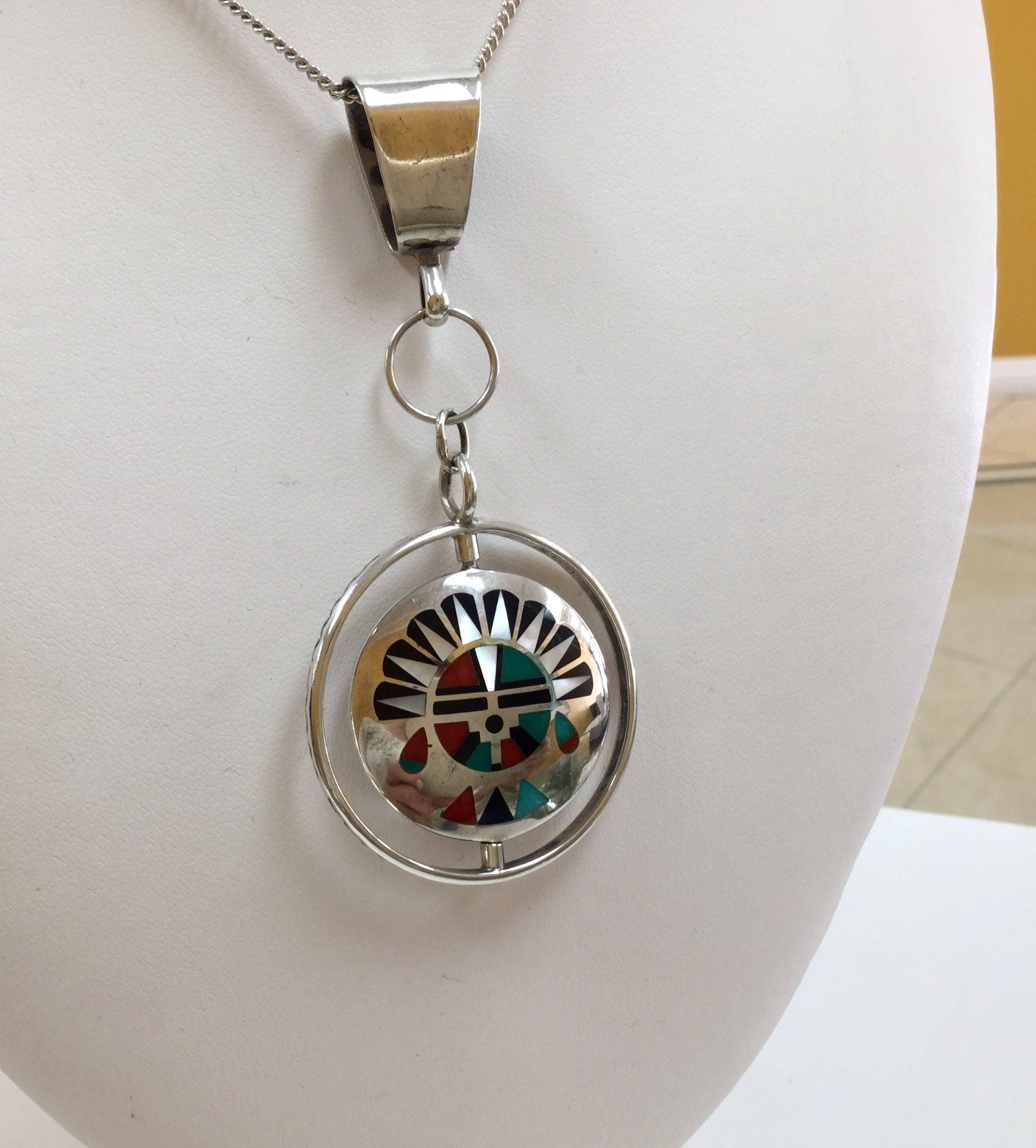 turquoise paw sterling zuni pendant pendants american inlaid bear necklaces print and silver pin native