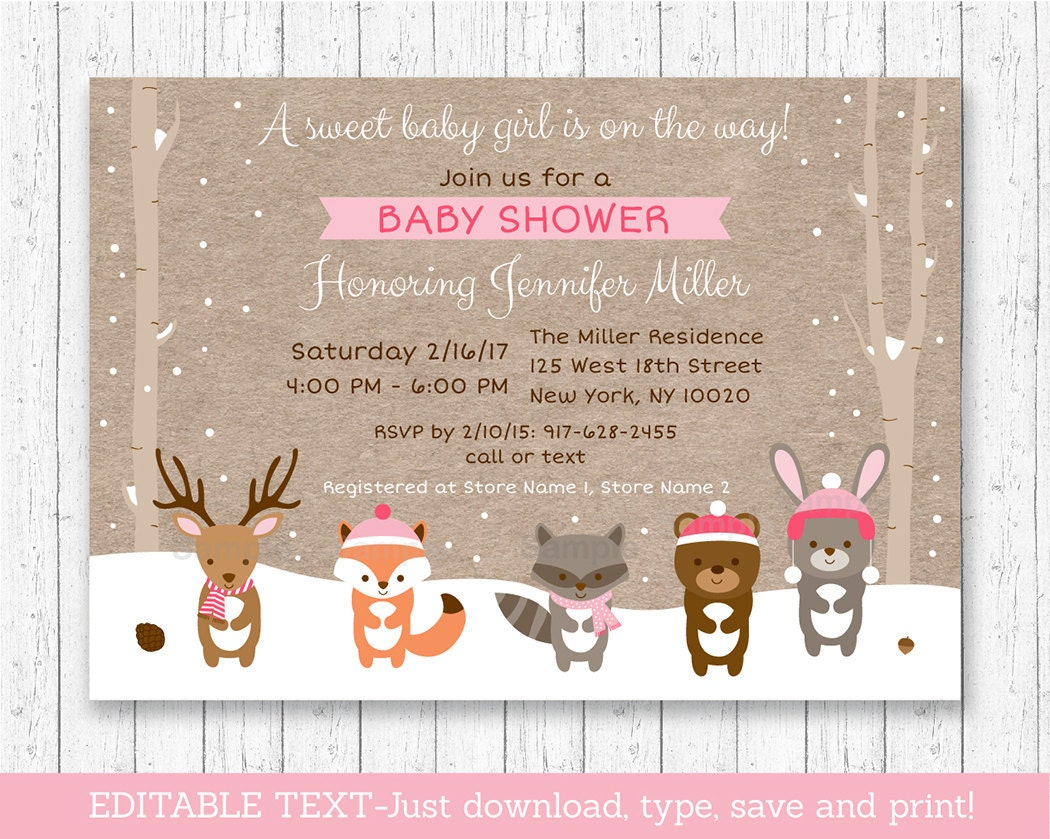 Winter Woodland Animals Baby Shower Invitation / Winter Baby