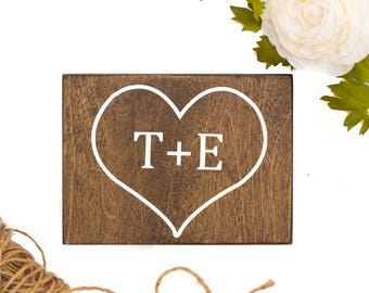 Valentines Day Gift, Valentines Day Decor, Personalized Gift, Heart Sign, Wood Initial Sign, Valentines Day, Wooden Heart Sign, Wall Decor
