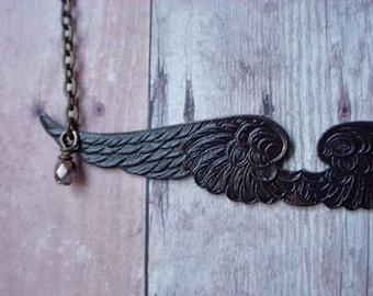 Angel Wing Necklace Dark Angel Oxidized Black Gothic Victorian Noir Feather