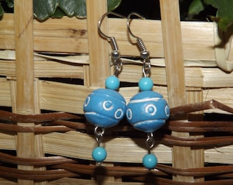 Ceramic and Turquoise Earrings