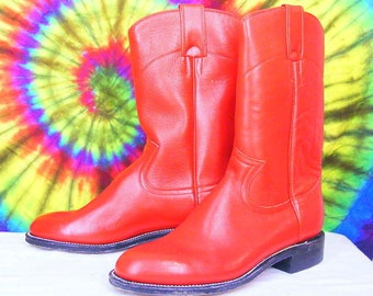 ladies 7 B vintage 70's-80's PECOS BILL red leather cowboy ropers boots. NOS