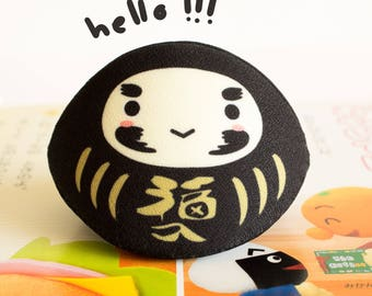 Black daruma coin purse. Success in Business ventures (good for entrepreneurs). Gift for Her. Birthday gift.