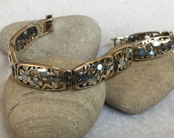 Bracelet-8 sterling silver links, hinged, butterflies and flowers, opalescent inlay
