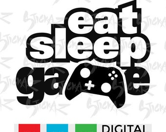 Eat Sleep Game, Controller, Xbox, Playstation, Video game, SVG, eps, dxf, png, cut files, stencils, decal art, scrapbook, Instant Download
