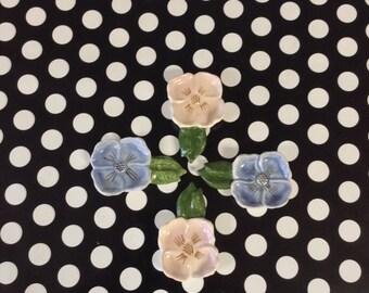 Proper Petunias~Tea Bag Dish~Set of 4~Vintage