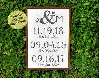 Rustic Two Year Anniversary gift for Girlfriend-Boyfriend-Husband- Wedding Sign- Second Anniversary Gift for Men-Women