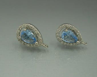 2pcs-Teardrop Blue Topaz Cubic Zirconia CZ Rhodium Plated Earstud Earrings Post Findings Wedding Earrings.